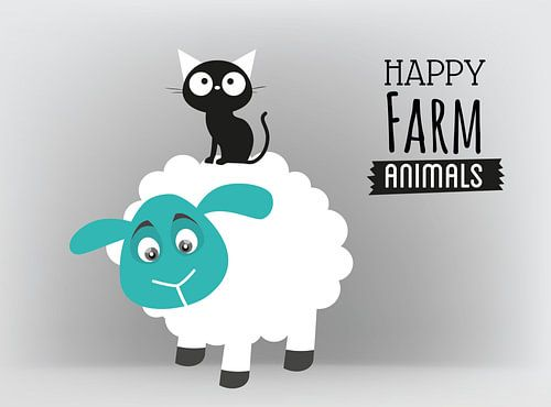 Happy Farm Animals Cat and Sheep _ Carina von Elly Michiels-Fleuren