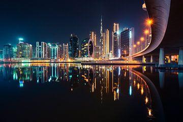 Dubai Skyline van Tijmen Hobbel