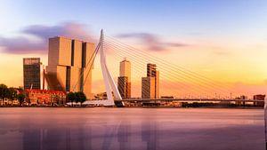 Erasmusbrug panorama in Rotterdam van Erwin Lodder