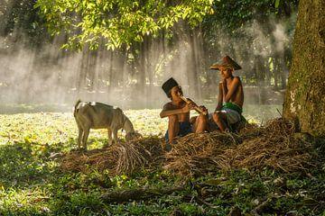 Even uitrusten onder de boom van Anges van der Logt