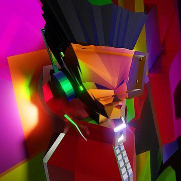 Hip Hop B-Boy (2019) von Pat Bloom - Moderne 3D, abstracte kubistische en futurisme kunst