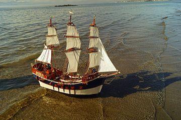 Zeilboot in Woodland Bay bij zonsondergang van Babetts Bildergalerie