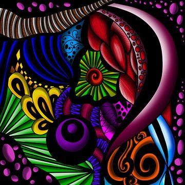 Abstracte kleurrijke cendoedel op zwarte achtergrond van Patricia Piotrak