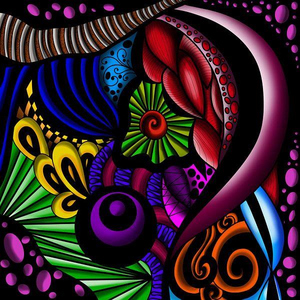 Abstraktes buntes Zendoodle auf schwarzem Hintergrund von Patricia Piotrak