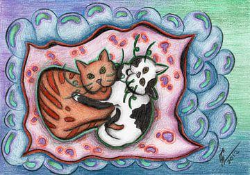 Kleurrijke kattentekening van Gabi Gaasenbeek