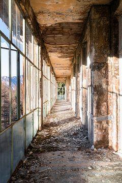 Verlassener Korridor mit Bergblick. von Roman Robroek