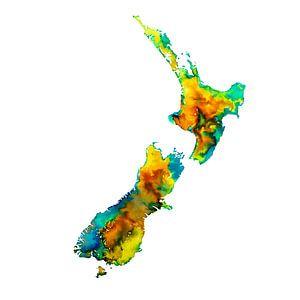 Neuseeland   Bunte Landkarte in Wasserfarbe   Gelb und Grün
