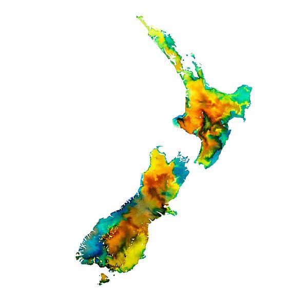 Nieuw Zeeland | Kleurrijke landkaart in aquarel | Geel en groen van Wereldkaarten.Shop
