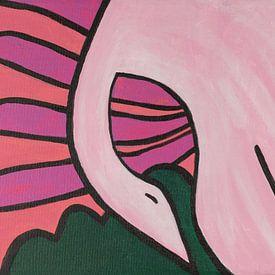 zwaan boven bloemenvelden van Verbeeldt