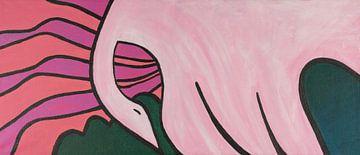 zwaan boven bloemenvelden