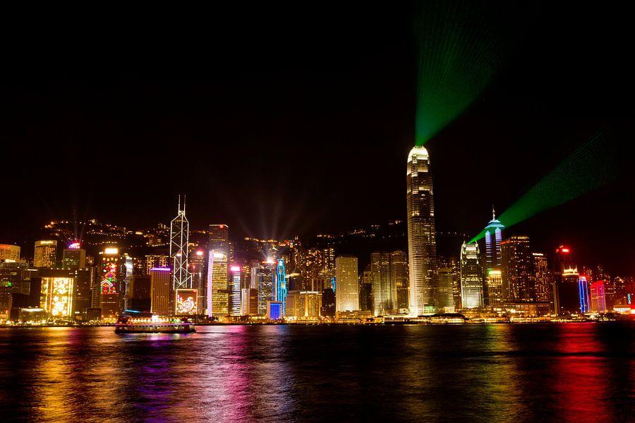 Skyline Hong Kong bij nacht