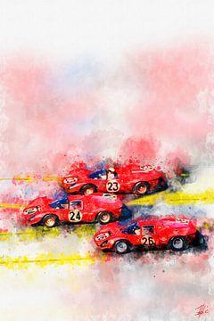 Ferrari, Sieg in Formation, Daytona 1967 von Theodor Decker