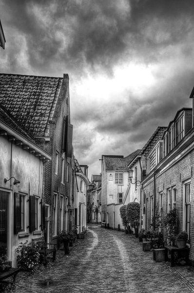 Muurhuizen historisch Amersfoort zwartwit