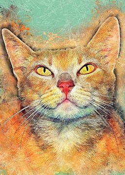 Kat dieren aquarel kunst #kat #kitten van JBJart Justyna Jaszke