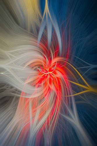 Kleurrijk abstract kunstwerk met een dansend lijnenspel