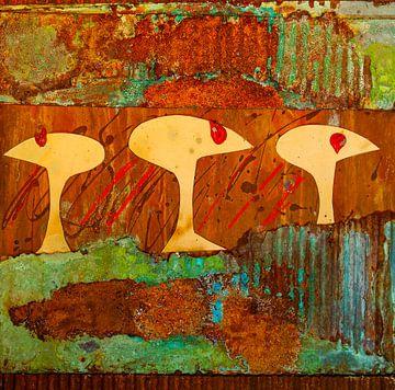 Drie hoofden in roest van Klaus Heidecker