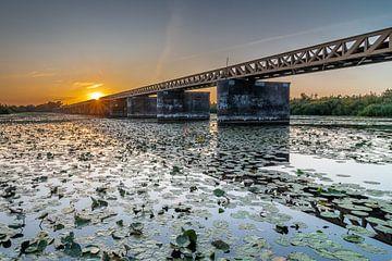 Zonsondergang bij de moerputtense brug van
