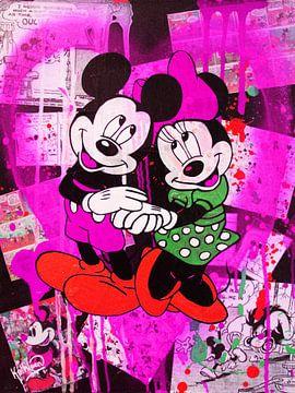 Mickey und Minnie Maus Violett Herz von Kathleen Artist Fine Art