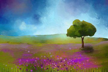 Schilderij van een Landschap met paarse bloemen