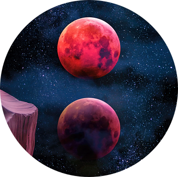 Grand Canyon met Space & Bloody Moon - Collage V van Art Design Works