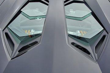 Blick auf den V12-Motor eines Lamborghini Aventador Roadster. von Xander Verweij