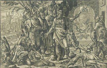Nebukadnezar wirft die drei Jugendlichen in den feurigen Ofen, Adriaen Thomasz. Schlüssel, 1554 - 15