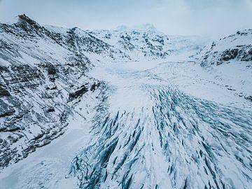 Svínafjellsjökull Glestjer aus der Luft (Drohne) in Island von Michiel Dros