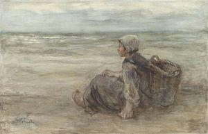 Vissersmeisje op het strand, Jozef Israëls