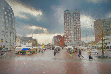 Marktplein Rotterdam van Leo Luijten
