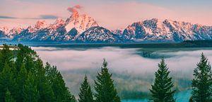 Zonsopkomst Snake River Overlook, Grand Teton N.P, Wyoming