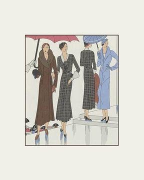 Les dames à l'automne | The ladies in the rain | Autumn | Art Deco historical print | Vintage fashio von NOONY