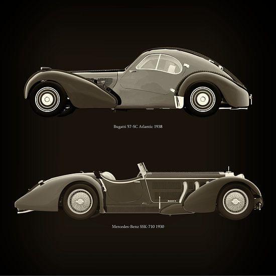 Bugatti 57-SC Atlantic 1938 en Mercedes-Benz SSK-710 1930