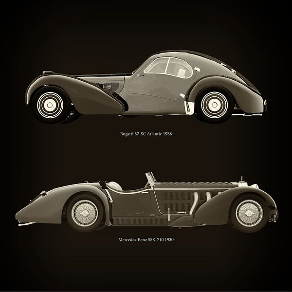 Bugatti 57-SC Atlantic 1938 et Mercedes-Benz SSK-710 1930 sur Jan Keteleer