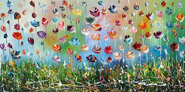 Fleurs colorées sur