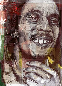 Bob Marley illustratie van Jos Hoppenbrouwers