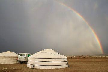 Regenboog in de Gobi woestijn van Suitcasefullofsmiles