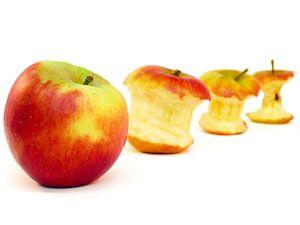 Appel en appelklokhuizen op een rij geïsoleerd op wit