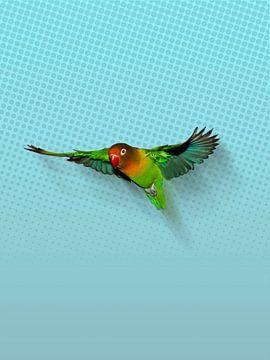 Vliegende agapornis van Bianca Wisseloo