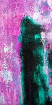 Modern, Abstract Digitaal Kunstwerk in Roze Blauw van Art By Dominic
