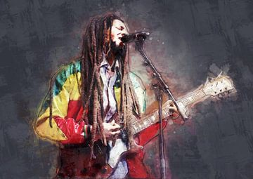Bob Marley schilderij olieverf portret te koop van Bert Hooijer