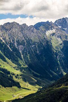 Daluitzicht vanaf de berg in Gerlos in Oostenrijk van Debbie Kanders