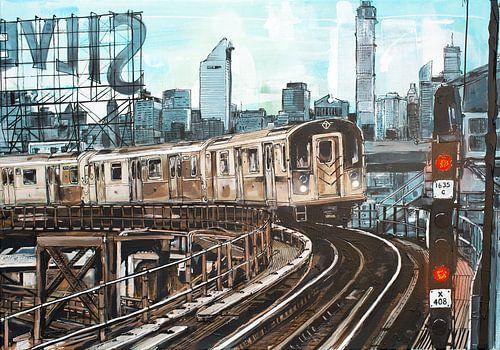 New York subway schilderij