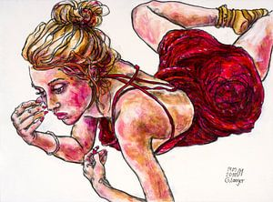 Schicksal, ein Mädchen im sexy roten Kleid