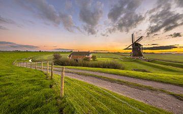 Ultra-Weitwinkel-Szene der niederländischen Holzmühle in flacher Graslandschaft unter wunderschönem  von Rudmer Zwerver