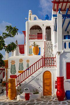 Buntes Haus auf Mykonos, Griechenland von Adelheid Smitt