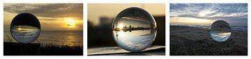 Collage: glazen bollen van Norbert Sülzner