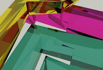 Tha Maze 6-2-4 van Pat Bloom - Moderne 3d en abstracte kubistiche kunst