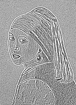 Mädchen mit dem Perlenohrring. von Jose Lok