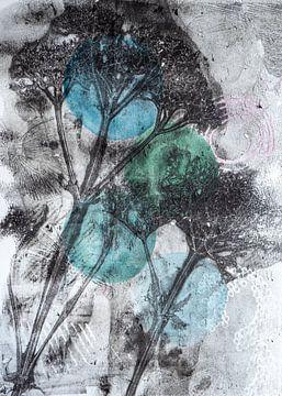 Botanische Pflanzen und Insekten drucken Grün Blau von Angela Peters