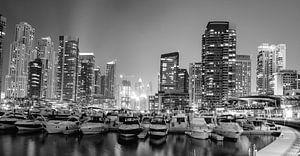 Dubai Marina (zwart-wit)